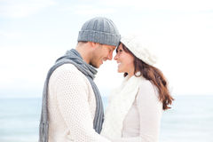 Winter couple. Happy healthy pair outdoors enjoying life Royalty Free Stock Image