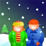 Winter couple royalty free illustration