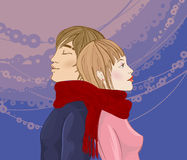 Winter couple. Young cople, the guy and the girl, standing a back to each other and wound with one red scarf. A gentle romantic picture royalty free illustration