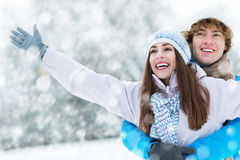Winter couple. Couple having fun on winter day Royalty Free Stock Images