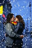 Winter couple in love Stock Photo