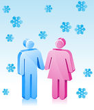 Winter Couple Romance. Christmas themed stick figure couple holding hands in the winter snow Royalty Free Stock Photos