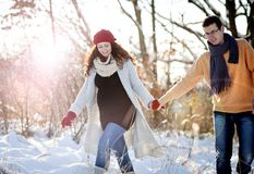 Winter couple stock images