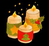 Winter cozy candles with new year ornaments royalty free stock images