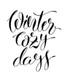 Winter Cozy Days ink hand lettering inscription. Christmas poster, banner, greeting card, calligraphy vector illustration vector illustration
