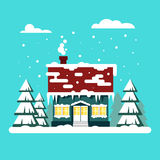 Winter cozy house with fits on blue background. Christmas time, happy new year - vector illustration. Snow flat city. Urban landscape, december cold xmas Royalty Free Stock Image