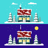 Winter cozy house with fits on blue background. Christmas time, happy new year - vector illustration. Snow flat city. Urban landscape, december cold xmas Royalty Free Stock Photos
