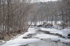Winter Creek. Snow covers the Normans Kill Creek in Princetown, New York Royalty Free Stock Image