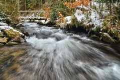 Winter on the Creek. Cold winter day on a mountain stream Royalty Free Stock Photos