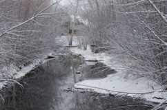 Winter Creek after a Fresh Snowfall Royalty Free Stock Photos