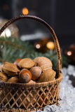 Winter cristmas nuts is wicked basket on white ice. Winter cristmas nuts in wicked basket with christmas decoration Stock Images