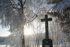 Winter Cross. Winter in the Black Forest in Germany Royalty Free Stock Images