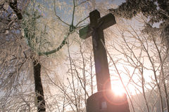 Winter Cross. Winter in the Black Forest in Germany Stock Image