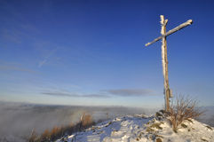 Winter cross hill top Royalty Free Stock Images