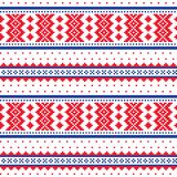 Winter cross-stitch  pattern inspired by Sami people folk art in Lapland - Scandinavian, Nordic style. Retro patterns from Norway, Sweden, Finland, and the Stock Image