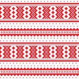Winter cross-stitch  pattern inspired by Sami people folk art in Lapland - Scandinavian, Nordic style. Retro patterns from Norway, Sweden, Finland, and the Stock Images