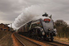 The Winter Cumbrian Mountain Express. Preserved steam locomotive 60009, Union of South Africa, heads the Cumbrian Mountain Express into Lazonby station on Stock Photography