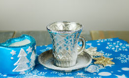 Winter cup of tea. On the wooden table royalty free stock images