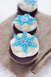 Winter cupcakes with fondant flower decorations. Delicate and elegant wedding chocolate cupcakes with white frosting and fondant decorations Royalty Free Stock Photos