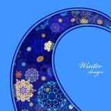 Winter curl design with pink and blue snowflakes. Text label. Royalty Free Stock Photo
