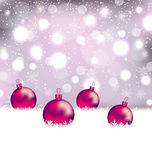 Winter cute background with Christmas balls Stock Photo