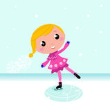 Winter: Cute Child ice skating on frozen lake. Cute little Christmas Girl ice skating. Vector cartoon Illustration Royalty Free Stock Photography