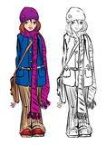 Winter cute girl dressing stripped scarf Royalty Free Stock Photos