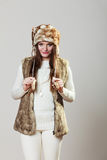 Winter cute girl fashion. Royalty Free Stock Image