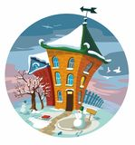 Winter cute little houses, illustration. Royalty Free Stock Photo