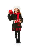 Winter: Cute Winter Girl With Christmas Present Royalty Free Stock Photo