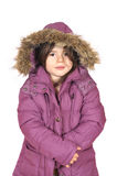 Winter cutie-portrait of a young girl in a hood Royalty Free Stock Image