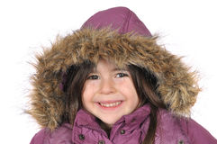 Winter cutie-portrait of a young girl in a hood Stock Photography