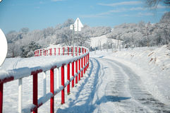 Winter. Cycle trail in the winter Stock Photography