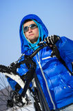 Winter cyclist portrait Stock Photos