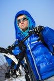 Winter cyclist portrait Stock Photos