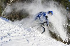 Winter cyclist in snow royalty free stock photo