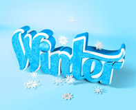 Winter 3D Dimensional Word with Snow Flakes Stock Photo
