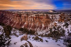Winter-D?mmerungs-Stunde auf Grand Canyon stockfoto