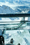 Winter Dachstein mountain massif through the glass floor. Royalty Free Stock Images