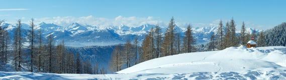 Winter  Dachstein mountain massif panorama Stock Photos