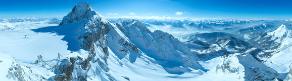 Winter Dachstein mountain massif panorama Royalty Free Stock Image