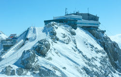 Winter Dachstein mountain view and upper station cable car Stock Images