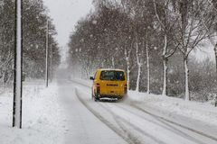 Winter. Dangerous winter road after heavy snowfall.  royalty free stock images