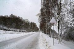 Winter. Dangerous winter road after heavy snowfall.  stock photo
