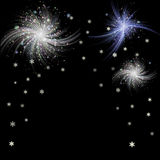 Winter dark background with fireworks and snowflakes. Blue, silver and green fireworks with snowflakes on a black background Stock Image