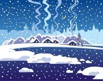 Winter dark blue evening landscape Stock Photography