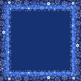 Winter dark blue frame with white snowflakes. Beautiful winter dark blue frame with white stylized snowflakes. Christmas and New Year celebratory card with place Stock Photo