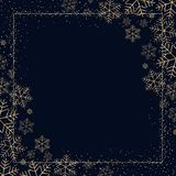 Winter dark festive background with golden snowflakes for Christmas and New Year Decorative snow pattern for postcard invitation royalty free illustration