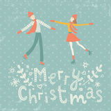 Winter date. Vector illustration of happy couple in love and hand lettering Merry Christmas text Stock Image