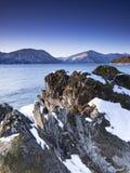 Winter dawn. At Lake Teletskoye, Altai Republic, Russia Stock Photography